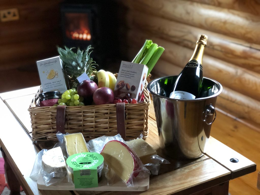 Bespoke fruit, cheese and champagne hamper